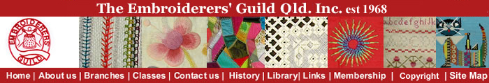 Banner for Embroiderers' Guild Qld.